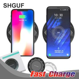 Wholesale Custom Usb Cables - For iPhone X 8 Plus Fast Qi Wireless Charging Charger Dock Pad Ultrathin With LED Light With USB Cable for Samsung Galaxy Note 8 5 S8 S7