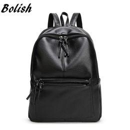 Wholesale Korean Small Backpack - Bolish New Travel Backpack Korean Women Female Rucksack Leisure Student School bag Soft PU Leather Women Bag