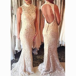 Wholesale Cut Out Back Evening Gowns - Fashionable Lace High Collar Neckline Cut-out Sheath Evening Dresses With Sexy Backless Champagne Beadings Mermaid Evening Gowns Custom Made