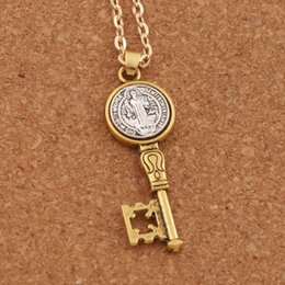 Wholesale Cross Key Chains Wholesale - 42x14.6mm Saint Benedict Exorcism Medal Catholic Cross Key Pendant Necklaces Antique Silver And Gold N1692 24inches