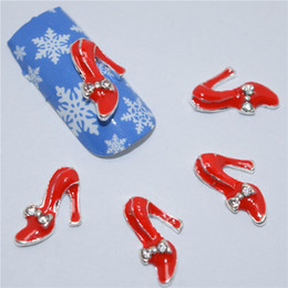 Wholesale High Heels Decorations - NEW 40pcs lot 3D Nail Art Decoration High-heeled Shoes Art Tools Crystal Rhinestone for Nails Alloy Decorations Nail Art Glitter DIY