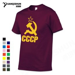 Wholesale Soviet Union - YUANQISHUN Top Quality T Shirts CCCP USSR Soviet Union Men T-shirt 100% Cotton O Neck Short Sleeve Tops Tee Russia Moscow Tshirt