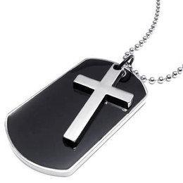 Collar de etiquetas del ejército online-Gargantilla para hombre estilo ejército etiqueta cruz colgante, color negro plata, cadena de 27 pulgadas