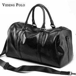 Wholesale Black Polo Large - VIDENG POLO Brand Casual Travel Duffle Bag PU Leather Men Handbags Big Large Capacity Travel Bags Black Mens Messenger Bag Tote