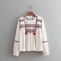 Senhoras senhoras roupas elegantes on-line-Roupas femininas estilo de moda Euro das mulheres de manga longa bordado blusa top blusa da senhora elegante frete grátis