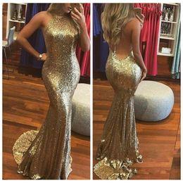 Wholesale halter mermaid dress bling - 2019 Sexy Bling Bling Gold Sequined Prom Dresses Backless Mermaid Party Gowns Custom Online Cheap Evening Dress Halter vestidos de fiesta