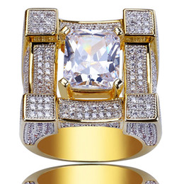 Wholesale square punk rings - Luxury Men's Hip Hop Copper Cubic Zirconia Rings Iced Out AAA CZ Diamonds 3D Square Ring Gold Plated Male Punk Party Jewelry
