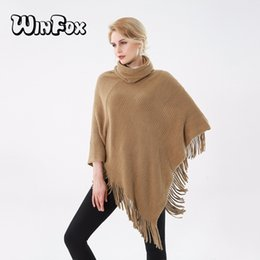 Wholesale winter coats camel color - Winfox 2017 New Fashion Winter Camel Color Coat Ponchos And Capes For Womens Ladies