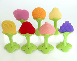 Wholesale Toy Baby Fruit - Baby Teether Massager Fruit Design Eco-friendly Infant Toothbrush Silicone Teething For Babies Silicone Fruit Shape Baby Toys