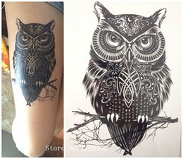 Wholesale Temporary Sexy Tattoos Wholesale - 2016 NEW Fashion Sample OWL 21 X 15 CM Sized Sexy Cool Waterproof Hot Temporary Tattoo Stickers
