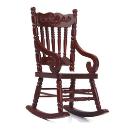 Wholesale cabinet wood - Wholesale- 1:12 Miniature Wooden Cabinet Rocker Model of Brown Wristbands