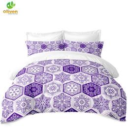 Lila Bettwäsche Set Blume Geometrische Druck Bettdecke Bettbezug Tröster Quilt Home Dekorative Kissenbezug Bettwäsche D25 von Fabrikanten