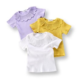 Wholesale organic baby clothes free shipping - Summer children's girls short sleeve lotus leaf baby shirt printed cotton short-sleeved T-shirt chirldren's clothing Free Ship A-0564