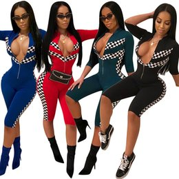 Wholesale Overall Ladies - Women Jumpsuits Fashion sexy deep V zipper Bodywear playsuit Overalls casual racing suit ladies Lattice printing bodycon Romper