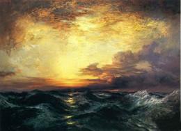 Pintura a óleo por do sol on-line-Thomas Moran - Pacific Sunset Seascape enormes ondas do mar pintados à mão / HD Print Landscape Art Pintura a óleo sobre tela cultura de escritório l114