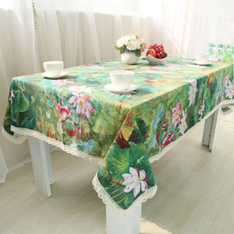 Wholesale Waterproof Cotton Tablecloth - Handmade Green Louts Cotton Linen Tablecloth New Home Kitchen Decor Dinner Table Top Cover Wedding Party Table Runner