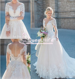 Wholesale miss france - Elegant France 2018 A line Wedding Dresses Jewel Long Sleeve Covered Button Illusion Full lace AppliqueS tulle Sweep train Bridal Gowns