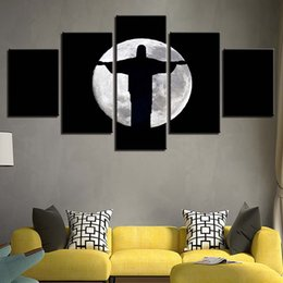 2019 dipinti jesus christ Dipinti su tela Living Room Wall Art Quadro 5 pezzi Jesus Christ Moon Shadow Poster HD Prints Abstract Pictures Home Decor sconti dipinti jesus christ