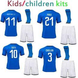 Wholesale Italian Cup - World cup 2018 Chidlren Maglie calcio Italy Soccer Jerseys+socks Pirlo Italian Andrea Pirlo Totti Ciro Immobile Baby kids football kits 2019