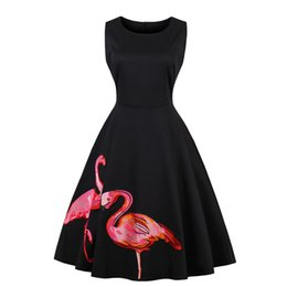 Canada longueur au genou tenue décontractée pour les femmes une ligne cocktail vintage court noir flamingo broderie lady party plage wed bureau sans manches, plus s-4x Offre