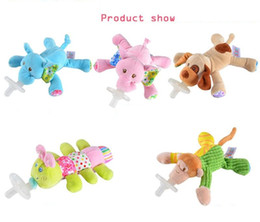 Wholesale Newborn Baby Food - newborn baby Pacifiers with Plush Animal Toys lovely cartoon toddle nipples infant food grade silicone pacifiers