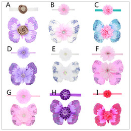 Wholesale Baby Costume Wings - 10 styles Newborns Baby photo photography props costumes 2pc set baby flower headband mini butterfly wings 18*14cm
