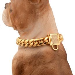 """Tagli di cane online-14mm fascino bianco strass blocco fibbia taglio cordolo cubano collegamento acciaio inossidabile 316l oro catena cane collare dell'animale domestico choker necklac 12-34 """""""