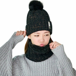 6a7f130a6b84dd Winter Warm Hat & Scarf Set For Women Girls Beanies Ring Scarf Pompoms Hats  Knitted Caps Head Warmer
