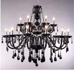 Schwarzer kronleuchter 18 lichter online-18/15/10/8 Lichter kronleuchter Luxus schwarz kristall Kronleuchter beleuchtung kerze lampe kurze mode wohnzimmer lampe kronleuchter beleuchtung