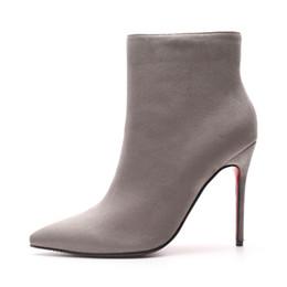 botas grises sexy Rebajas Parte inferior roja tacones altos botas 2018 otoño invierno mujeres botas botines de gamuza gris cremallera sexy punta estrecha bottes