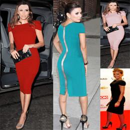 Túnicas noturnas on-line-2018 Mulheres Da Moda Celeb Desgaste Do Partido Trabalho de Escritório Vestido de Volta Com Zíper de Algodão Túnica Bainha Bodycon Evening Vestido Lápis Kim kardashian NB-131