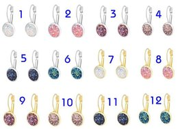 Wholesale wholesale druzy earrings - 2018 Nice handmade resin round druzy earrings trendy simple stainless plated wholesaling resin stone earring for Women Jewelry 20 Pairs 13