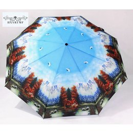 Wholesale Mountain Paintings - Snow Mountain Swan Lake Scenery Oil Painting Automatic Men Women Umbrellas 3 Folding Anti-UV Sun Rain Umbrella Large Big Parasol