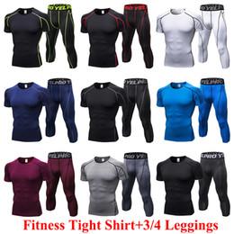 c23f2fbc956 Summer Compression Tracksuit Fitness Tight Sportswears Running 3 4 Pant  Short Sleeve T-shirt Tight Leggings Men s Sportswear Gym Sport Suit