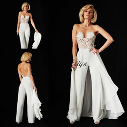 Wholesale Sheer Thigh Highs - Ines Di Santo Lace jumpsuit Wedding Dresses 2018 Two In One Detachable Train Illusion Bodice Lace Chiffon Backless Beach Bridal Gowns
