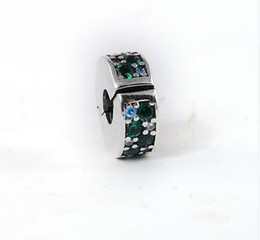 Wholesale Teal European Bead - 2017 Summer Mosaic Shining Elegance, Multi-Colored Crystals & Teal CZ Fit Pandora Bracelet 925 Sterling Silver Clip Charm Beads