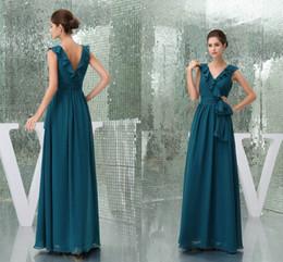 Canada Hunter nouvelles images réelles une ligne robes de demoiselle d'honneur en mousseline de soie col en V volants rez-de-chaussée longueur robes de demoiselle d'honneur robes de mariée mariage WD5-037 Offre