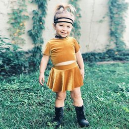 Wholesale Velvet Clothing Brand - Baby Girl Gold velvet outfits 2018 New Fashion girls top+skirts 2pcs set INS kids Clothing Sets Free Shipping