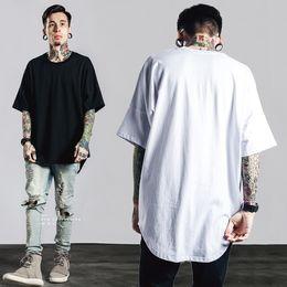 Justin bieber roupas branco on-line-BBTX135 t-shirt dos homens ocidental longo T-shirt roupas dobradas hem camisa de manga comprida hip hop cidade cor sólida branco Justin Bieber
