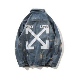 Vêtements rock pour hommes en Ligne-LETS Rock Arrow Jean Vestes Vêtements pour hommes Single Breasted Turn-down Collar Jacket