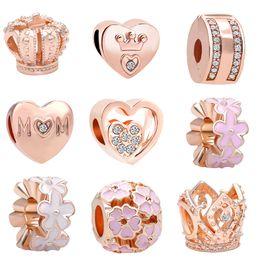 Livraison Gratuite MOQ 20pcs rose d'or Couronne Maman Fleur Perle Charmes fit Original Pandora Bracelet Bijoux DIY N003 ? partir de fabricateur