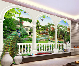 Wholesale Peacock Wall Paper - Custom 3D Photo Wallpaper European Style Peacock Mural High Quality Living Room Study Room Classic Wall Paper Papel De Parede 3D