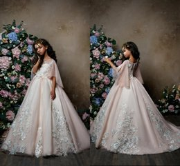 Wholesale princess fairy dresses - Romantic Fairy Pink Flower Girl Dresses 2018 Newest Princess A Line Sheer Crew Neck Appliques Long Girls Formal Pageant Gowns Arbaic
