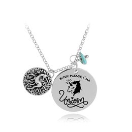 Wholesale Novelty Animal Gifts - 'Bitch Please I'm A Unicorn' 2018 Novelty Pendant Neckalce Gift For Him or Her Magical Horse Statement Necklace Animal Jewelry