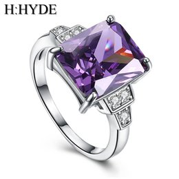 Wholesale lady large rings - H:HYDE Weddings bride Pink Large CZ Stone jewelry Silver Color Rings charming lady nice party ring size 7-9 anillos mujer