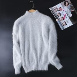 Camisola de cashmere de gola alta on-line-Novo genuíno vison suéter de cashmere mulheres 100% vison pulôveres de cashmere com gola de gola livre frete JN465