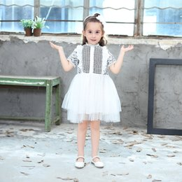 Wholesale Dovetail Dresses - Girls princess dresses 2018 new children lace short sleeve tulle tutu dress pierced dovetail dress long dress kids party clothes