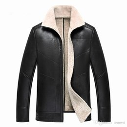 Wholesale Genuine Leather Jacket Men Brown - Mens Winter Clothing Genuine Leather Jackets Fur Coats Warm Thick Outwear Overcoat Tops Slim Fit Jackets High Quality Larger Size
