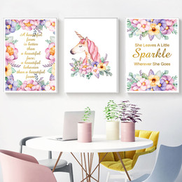 Wholesale Flower Watercolor Paintings - Watercolor Flower Unicorn Wall Art Canvas Painting Nursery Quotes Posters and Prints Nordic Kids Decoration Pictures Home Decor