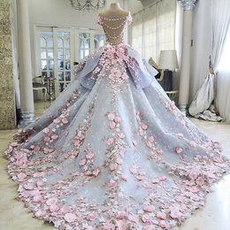 2019 elástico de cetim vestido de bola vestidos de noiva Charmoso colorido vestidos de casamento vestido de baile 3D-Floral apliques flor Vintage Bling Backless longo tribunal trem princesa vestidos de noiva